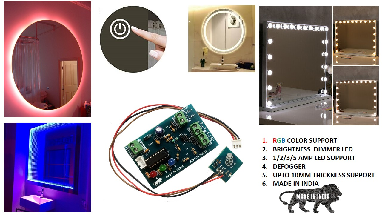 mirror touch sensor, single touch mirror sensor, mirror sensor, mirror touch switch, rgb light mirror, smart touch switch, tp223 touch